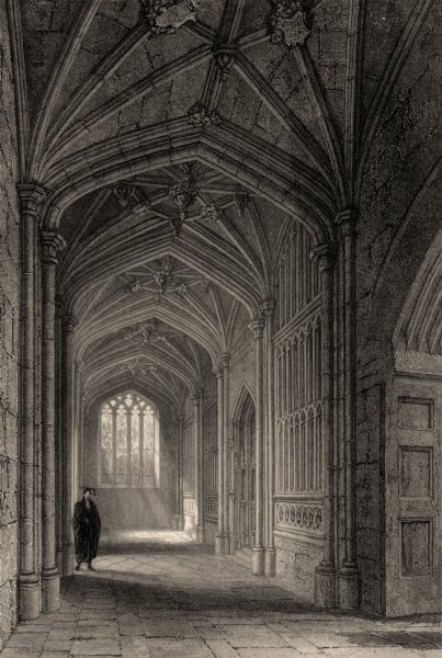 Associate Product Proscholium to the Divinity School, Oxford, by John Le Keux 1837 old print