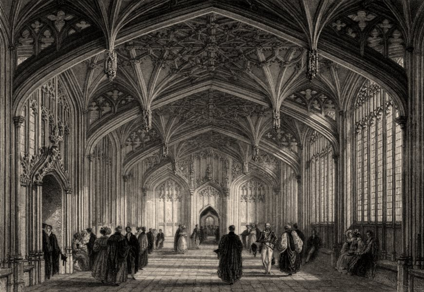 Associate Product The Divinity School, Oxford, by John Le Keux 1837 old antique print picture