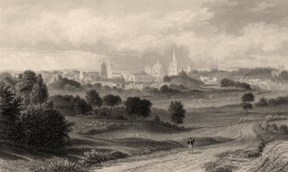 Associate Product View of Oxford from the Abingdon Road, Oxford, by John Le Keux 1837 old print