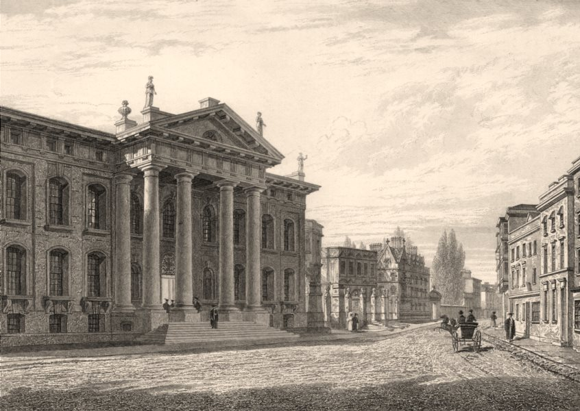 Associate Product The Clarendon Building and Broad Street, Oxford, by John Le Keux 1837 print