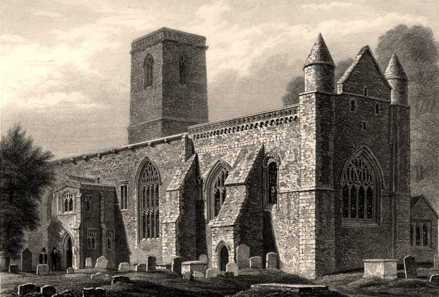 Associate Product St Peter-in-the-East church from the S.E., Oxford, by John Le Keux 1837 print