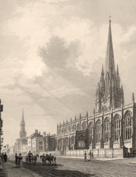 Associate Product High Street, Oxford, by John Le Keux 1837 old antique vintage print picture