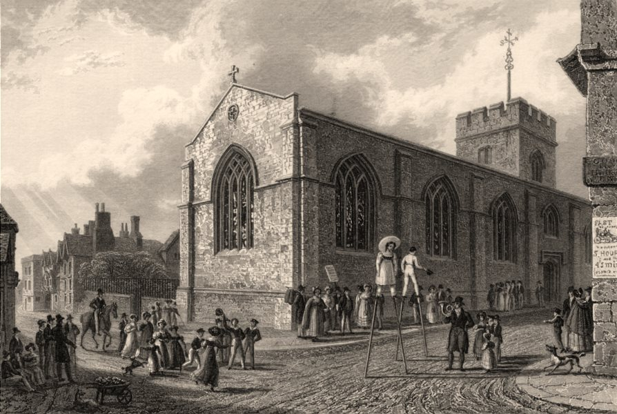 Associate Product St Ebbes Church, Oxford, by John Le Keux 1837 old antique print picture