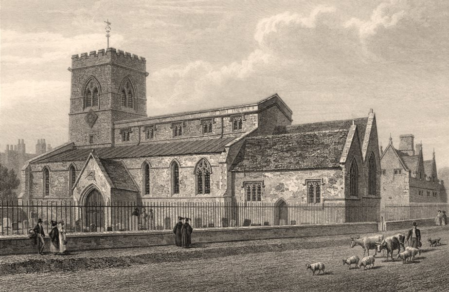 Associate Product St Giles's Church, Oxford, by John Le Keux 1837 old antique print picture