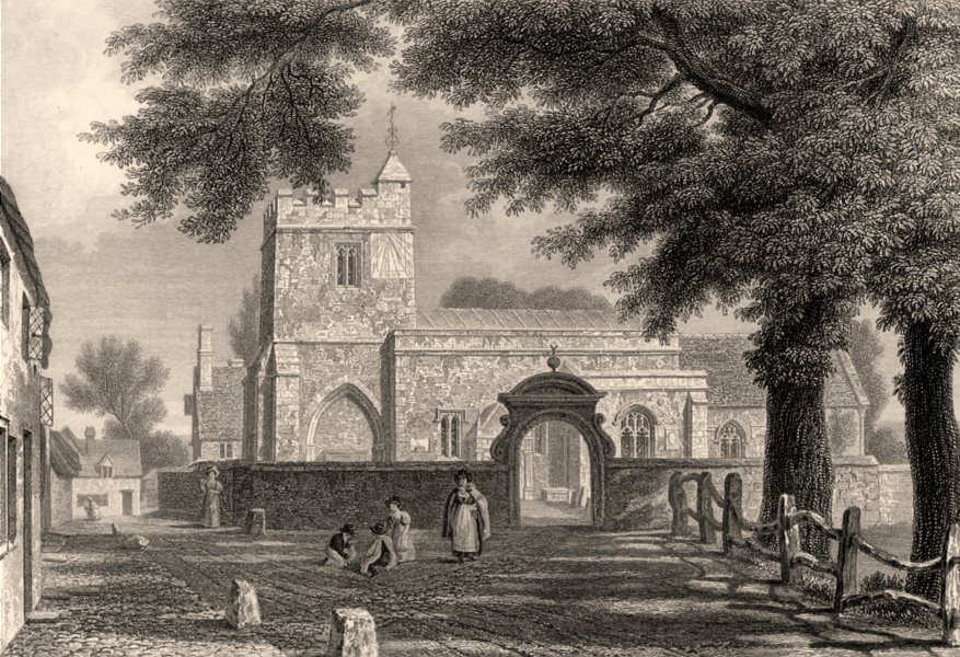 Associate Product Holywell (St Cross) Church, Oxford, by John Le Keux 1837 old antique print