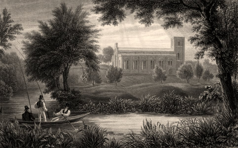 Associate Product St Clements Church from Magdalen Walk, Oxford, by John Le Keux 1837 old print