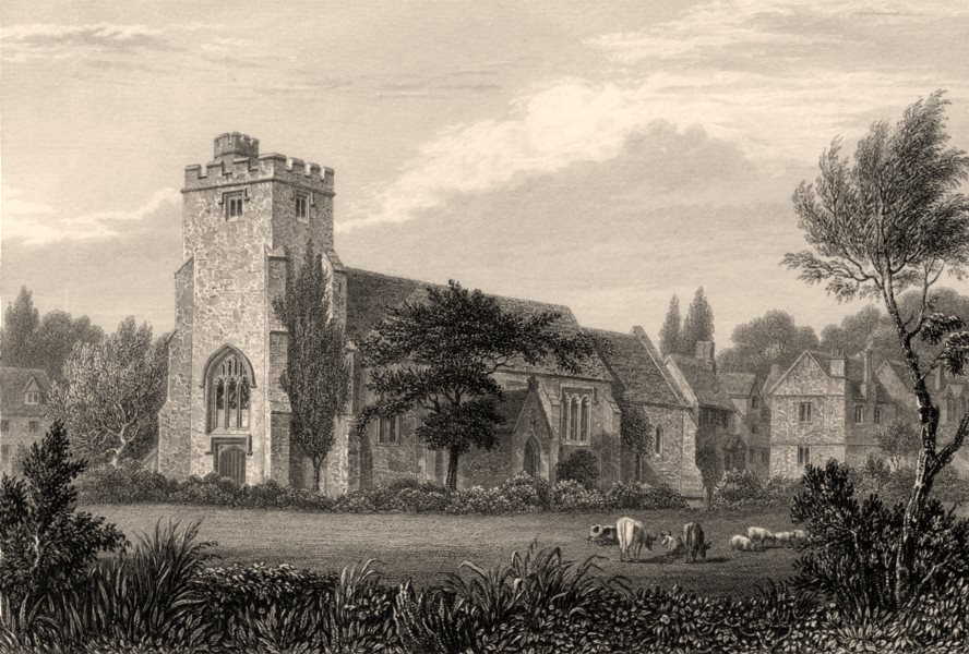 Associate Product St Thomas the Martyr's Church, Oxford, by John Le Keux 1837 old antique print