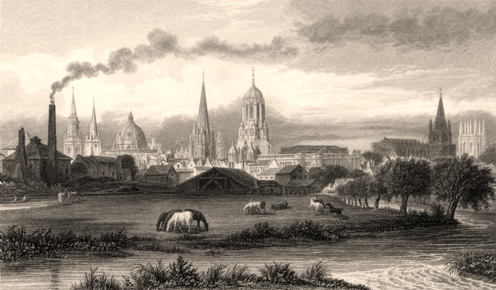View of Oxford, from the meadows near the gas-works, by John Le Keux 1837