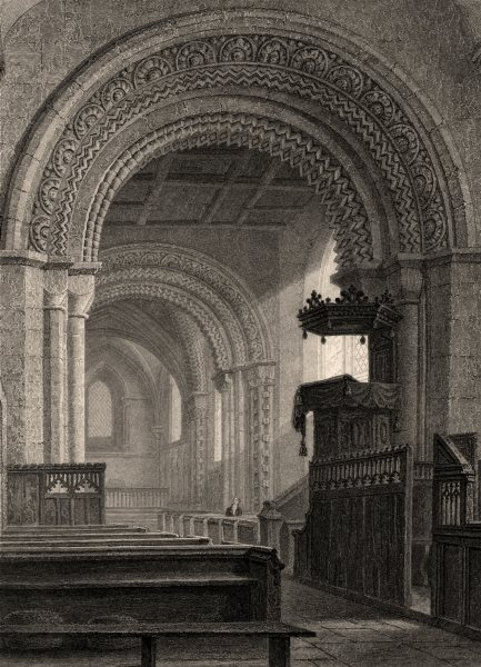 Associate Product Interior of Iffley Church, Oxford, by John Le Keux 1837 old antique print