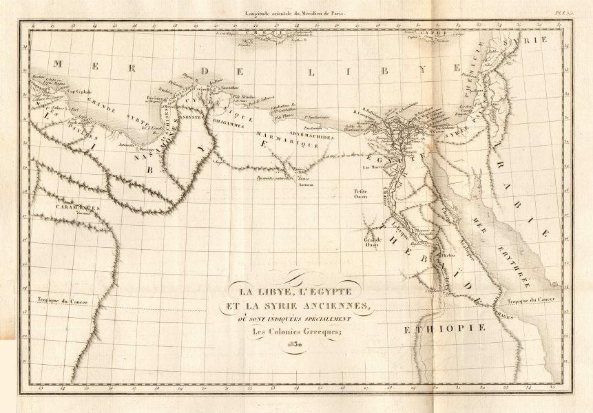 "Associate Product ANCIENT NORTH AFRICA. Greek colonies. ""La Libye, L'Egypte…"". TARDIEU 1830 map"