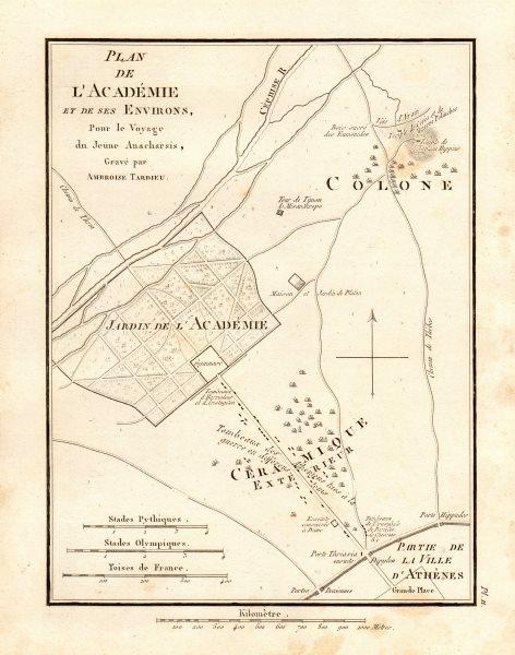 Associate Product PLATONIC ACADEMY. Plan de l'Académie. Hippeios Colonus. Athens. TARDIEU 1832 map