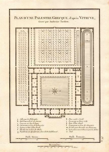 "Associate Product ANCIENT GREECE ""Palestre Grecque"" Palaestra wrestling school. Vitruvius 1832 map"