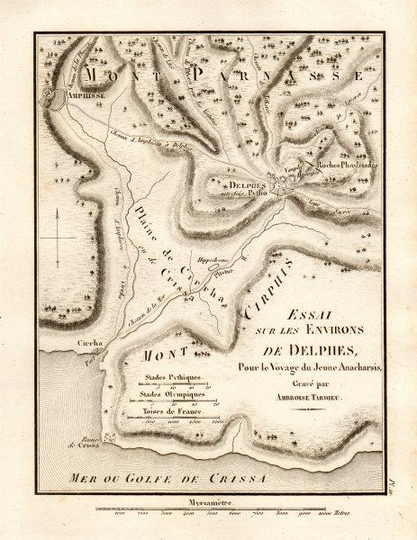 "Associate Product ANCIENT DELPHI environs. ""Environs de Delphes"". Greece. TARDIEU 1832 old map"