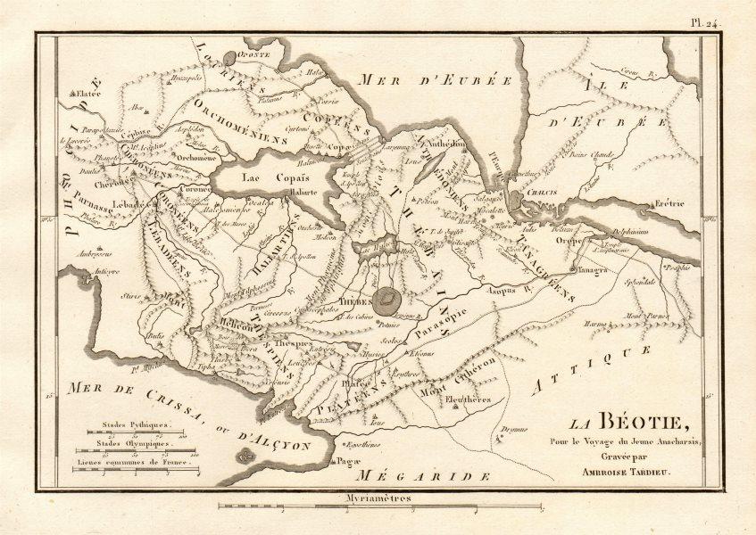 """Associate Product ANCIENT GREECE. """"La Béotie"""". Boeotia. TARDIEU 1832 old antique map plan chart"""