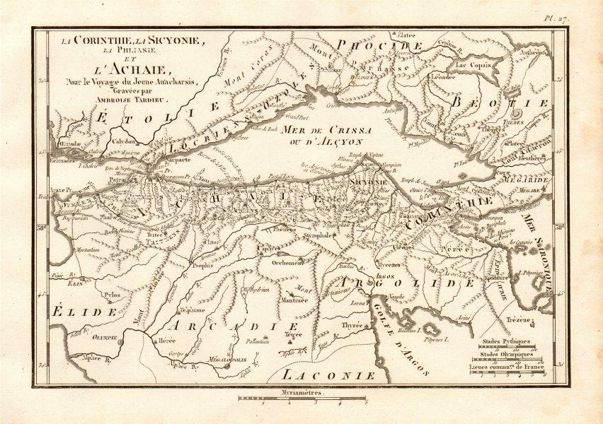 CORINTHIAN GULF. Corinthie Sicyonie Sicyonia Achaie Achaea. TARDIEU 1832 map
