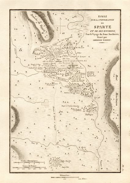 Associate Product SPARTA & environs. Ancient Greece. Sparte. TARDIEU 1832 old antique map chart