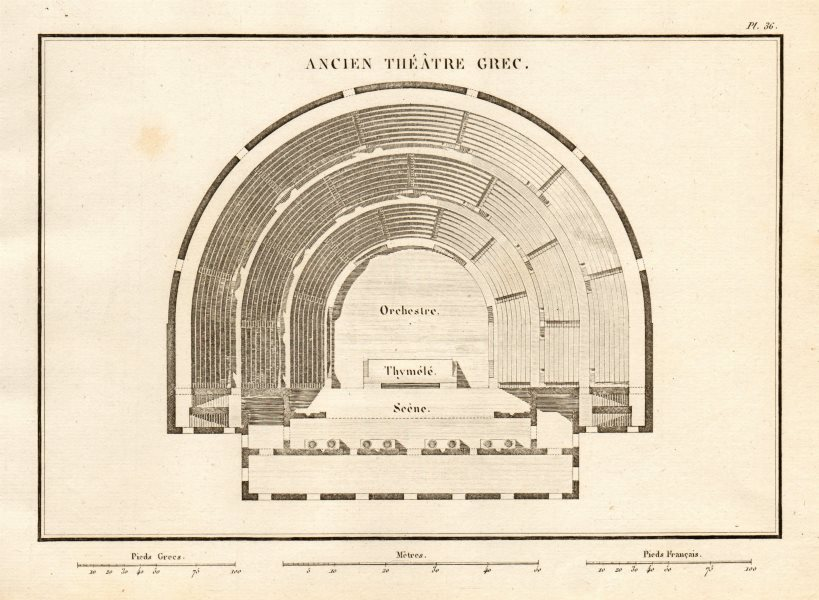 Associate Product ANCIENT GREEK THEATRE PLAN. Ancien Théâtre Grec 1832 old antique map chart