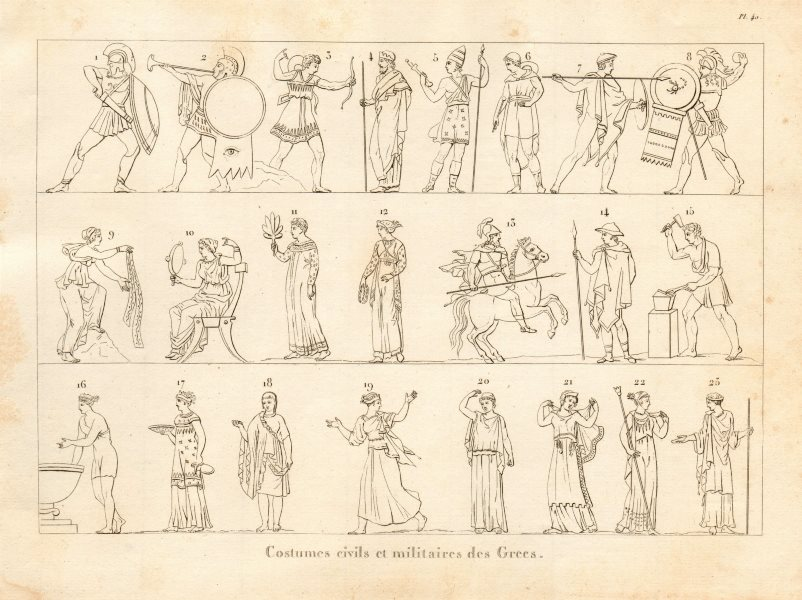 Associate Product ANCIENT GREECE. Civil & military dress & costumes 1832 old antique print