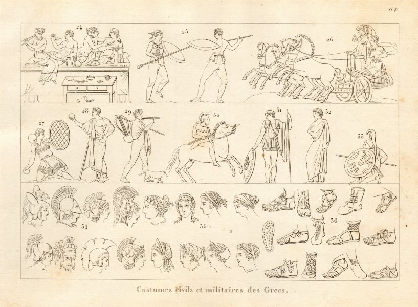 Associate Product ANCIENT GREECE. Civil & military dress & costumes (2) 1832 old antique print