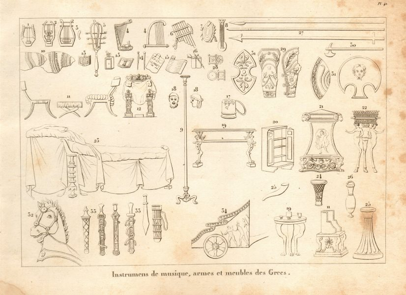Associate Product ANCIENT GREECE. Musical instruments, arms & furniture 1832 old antique print