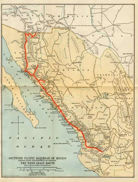 Details about Southern Pacific Railroad / Ferrocarril Sud-Pacifico de  Mexico 1935 old map