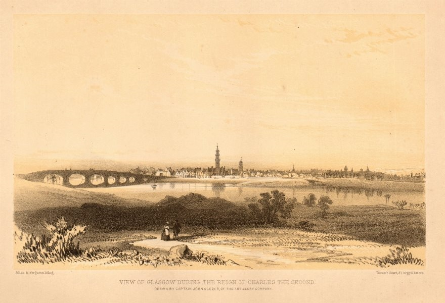View of Glasgow during the reign of Charles the Second 1848 old antique print