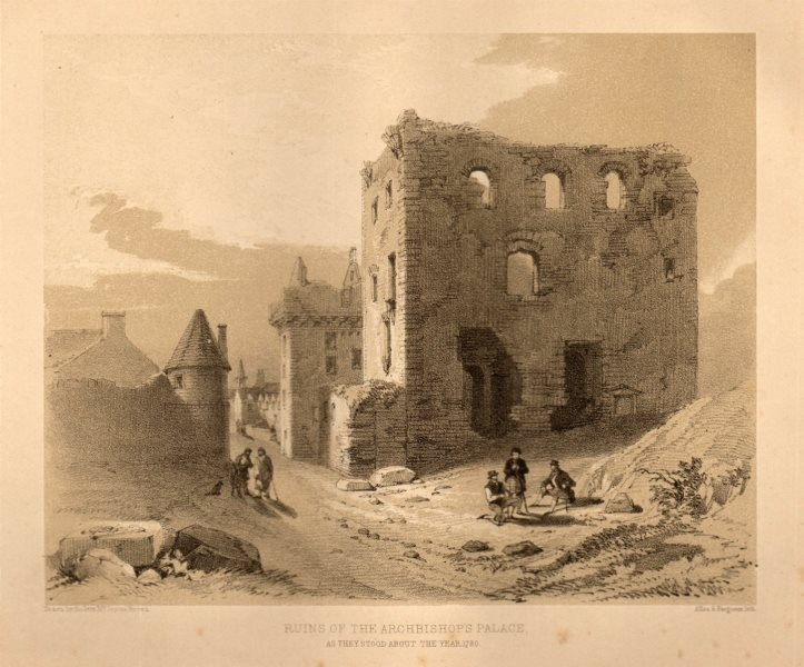 Associate Product Ruins of the Archbishop's Palace, as they stood in 1780, Glasgow 1848 print