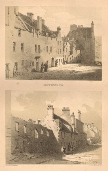Associate Product Views of Rottenrow, Glasgow 1848 old antique vintage print picture