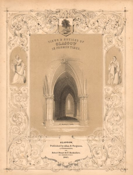 """Associate Product Frontispiece. """"Views & notices of Glasgow in former times"""". St Mungo's Tomb 1848"""