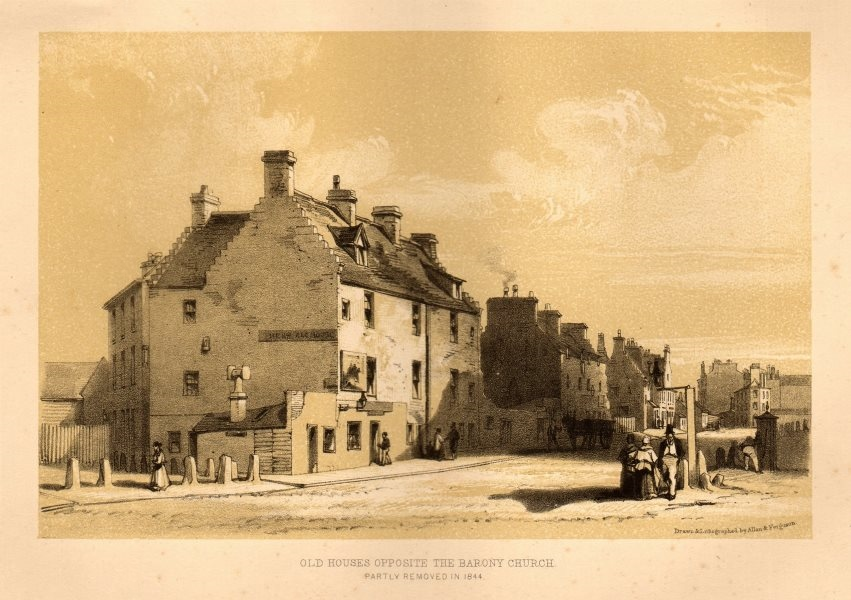 Associate Product Old houses opposite the Barony Church (Hall), Glasgow. Removed 1844 1848 print