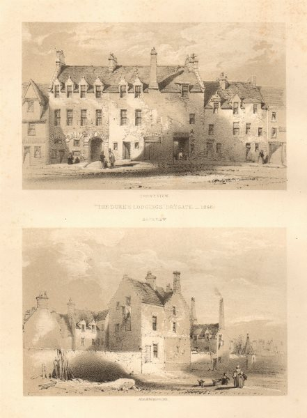 Associate Product The Duke Lodgings, Drygate, Glasgow 1846. Front & back views 1848 old print