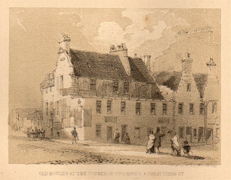 Associate Product Old house at the corner of Stockwell & Great Clyde St, Glasgow. SMALL 1848