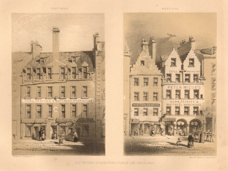 Associate Product Old houses in High Street near the Cross, 1846, Glasgow. West & east side 1848