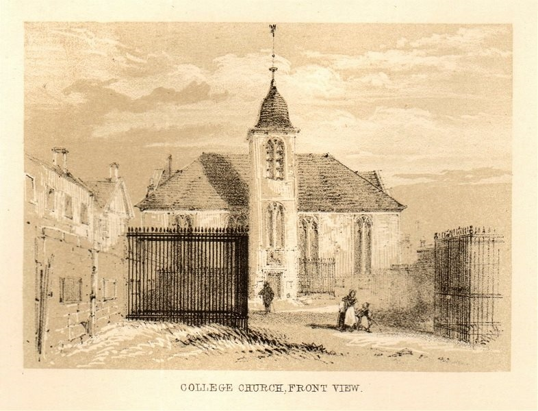 Associate Product College church, front view, Glasgow. SMALL 1848 old antique print picture
