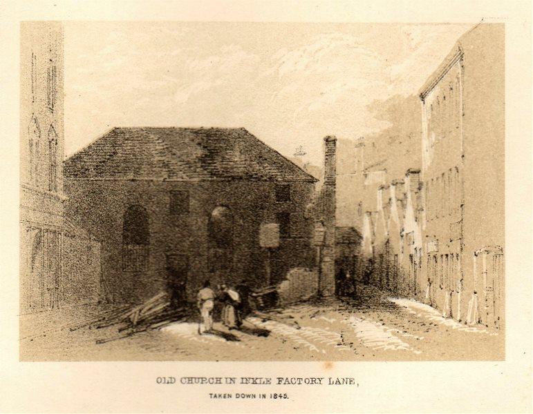 Old church in Inkle Factory Lane, taken down in 1845, Glasgow. SMALL 1848