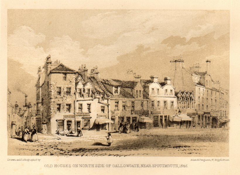 Associate Product Old houses on north side of Gallowgate, near Spoutmouth, 1845, Glasgow 1848