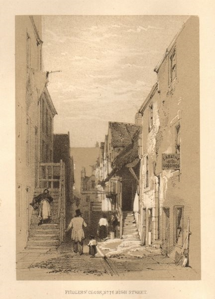 Associate Product Fiddlers' Close, No. 75 High Street, Glasgow 1848 old antique print picture