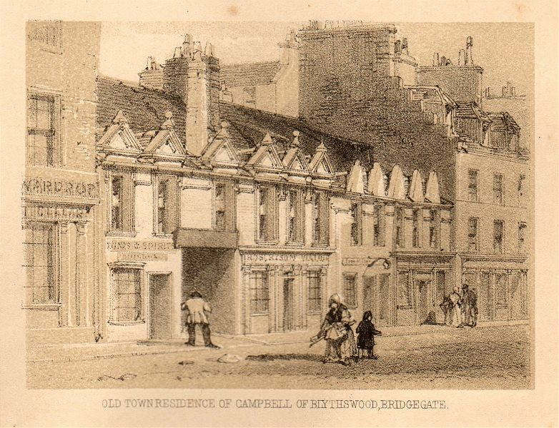 Associate Product Old town residence of Campbell of Blythswood, Bridgegate, Glasgow. SMALL 1848
