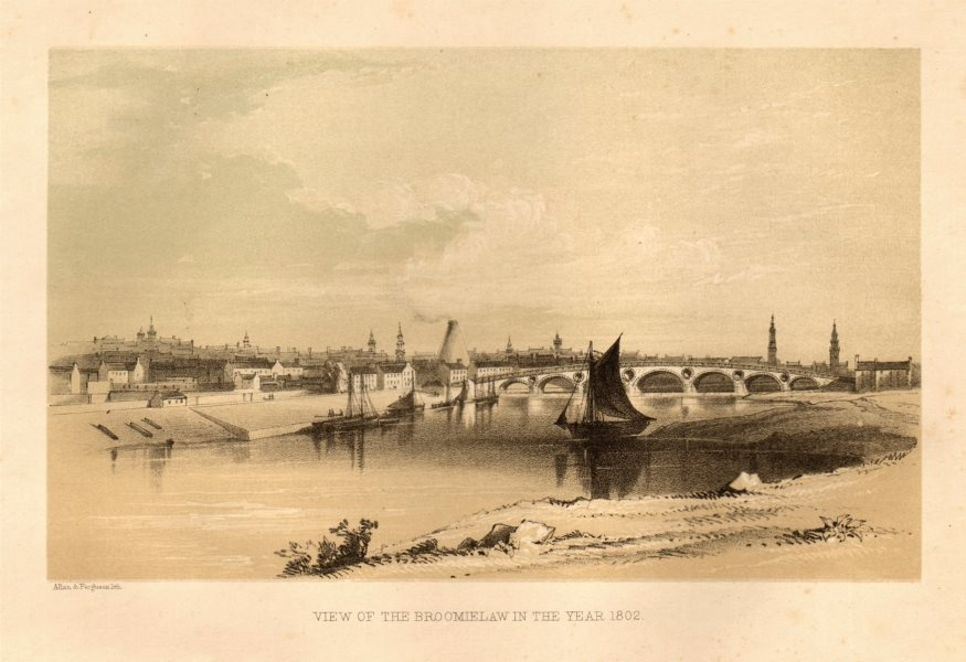 Associate Product View of the Broomielaw in the year 1802, Glasgow 1848 old antique print