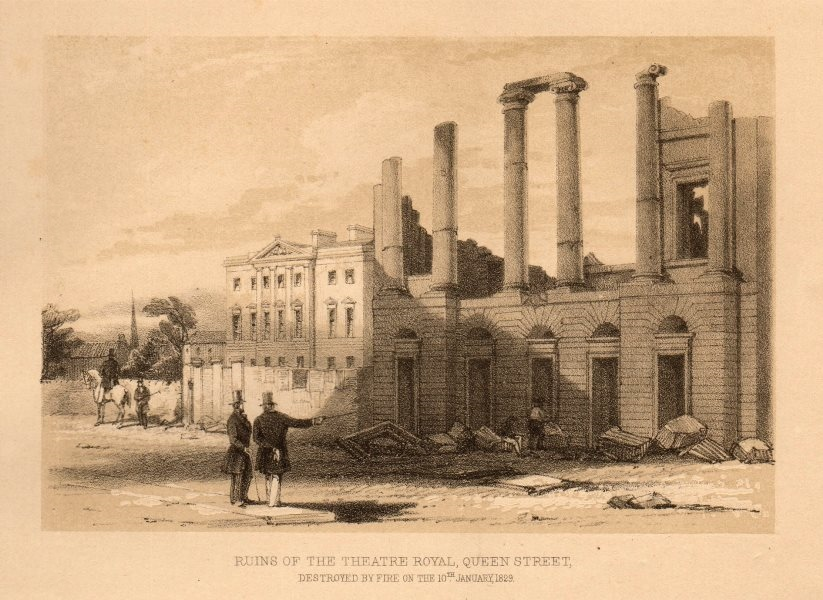 Associate Product Ruins of the Theatre Royal, Queen Street, burnt down 1829, Glasgow 1848 print