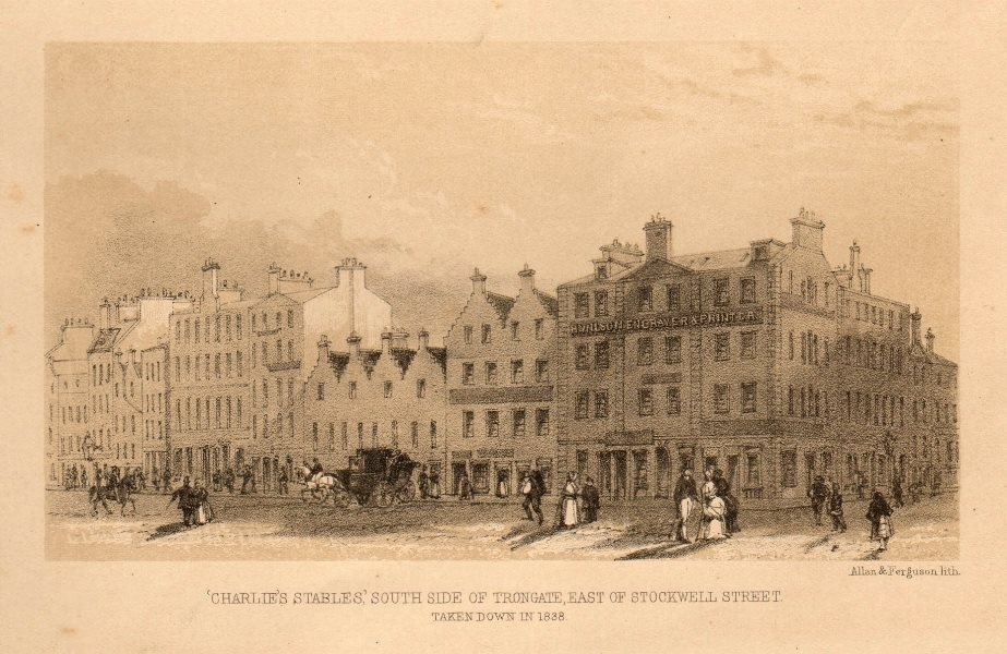 Associate Product Charlie's stables, south side of Trongate, east of Stockwell St., Glasgow 1848