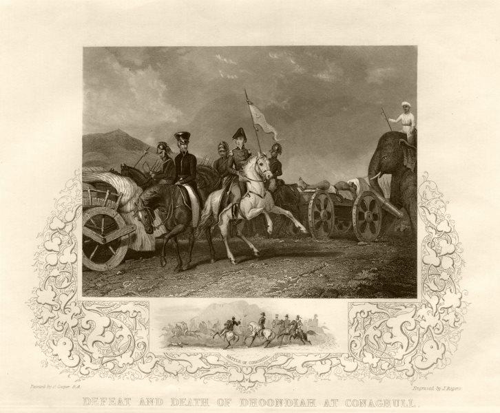 Associate Product Death of Dhondia Wagh, Battle of Konagal or Conaghalli 1800. India. TALLIS c1855