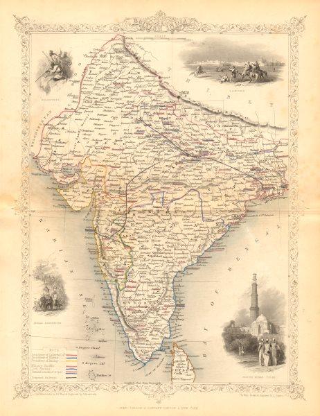 Associate Product BRITISH INDIA. shows proposed Railways & military bases. RAPKIN/TALLIS c1855 map