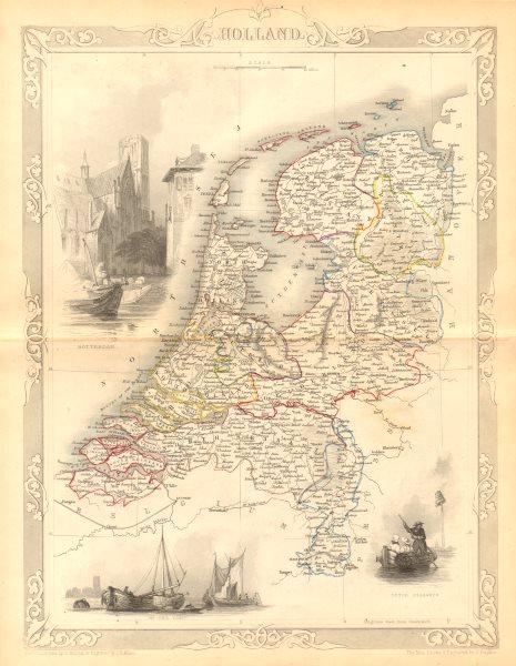 Associate Product NETHERLANDS. 'Holland'. Provinces. Rotterdam view. TALLIS & RAPKIN c1855 map