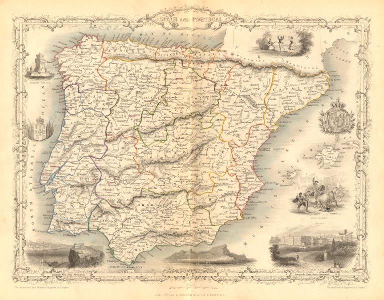 Associate Product SPAIN & PORTUGAL. Madrid Lisbon Gibraltar views. Iberia RAPKIN/TALLIS c1855 map