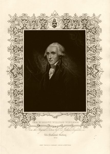 Associate Product The Rt. Hon. William Windham (1750-1810), after Reynolds. TALLIS c1855 print