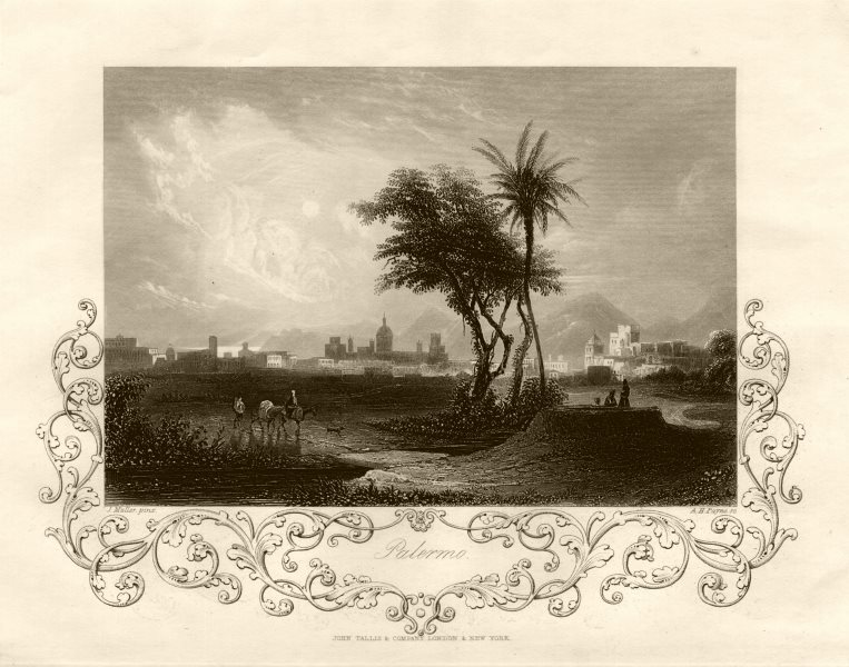 Associate Product View of Palermo, Sicily. Italy. TALLIS c1855 old antique vintage print picture