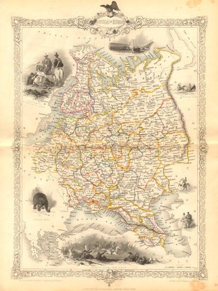 Associate Product RUSSIA IN EUROPE. Oblasts Ukraine Baltics Finland Poland RAPKIN/TALLIS c1855 map