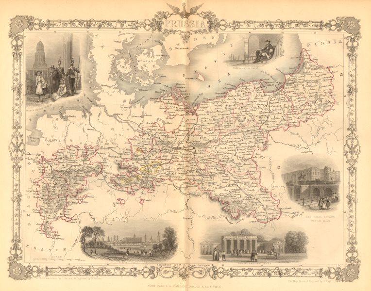 Associate Product PRUSSIA. Views of Berlin, Brandenburg gate &c. TALLIS & RAPKIN c1855 old map