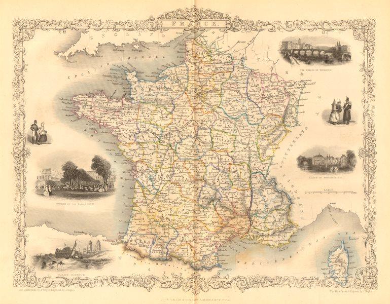 Associate Product FRANCE. Provinces. Without Comté de Nice & Savoy/Savoie. RAPKIN/TALLIS c1855 map